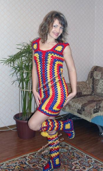 Платье и сапожки крючком