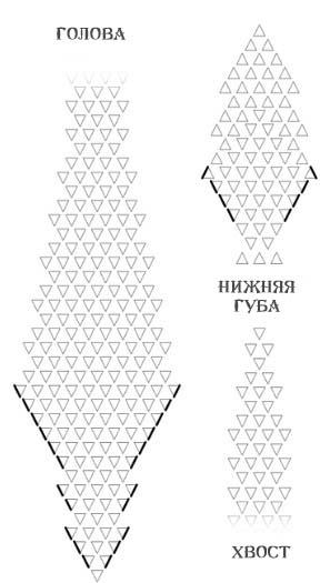 Схема оригами змеи из модулей,