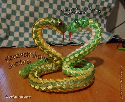 Змейка из атласных лент и проволоки